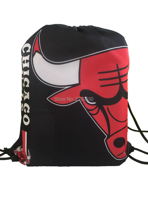 Chicago Bulls Basketball Team Drawstring Bags Men Sports Backpack Digital Printing Pouch Customize 35