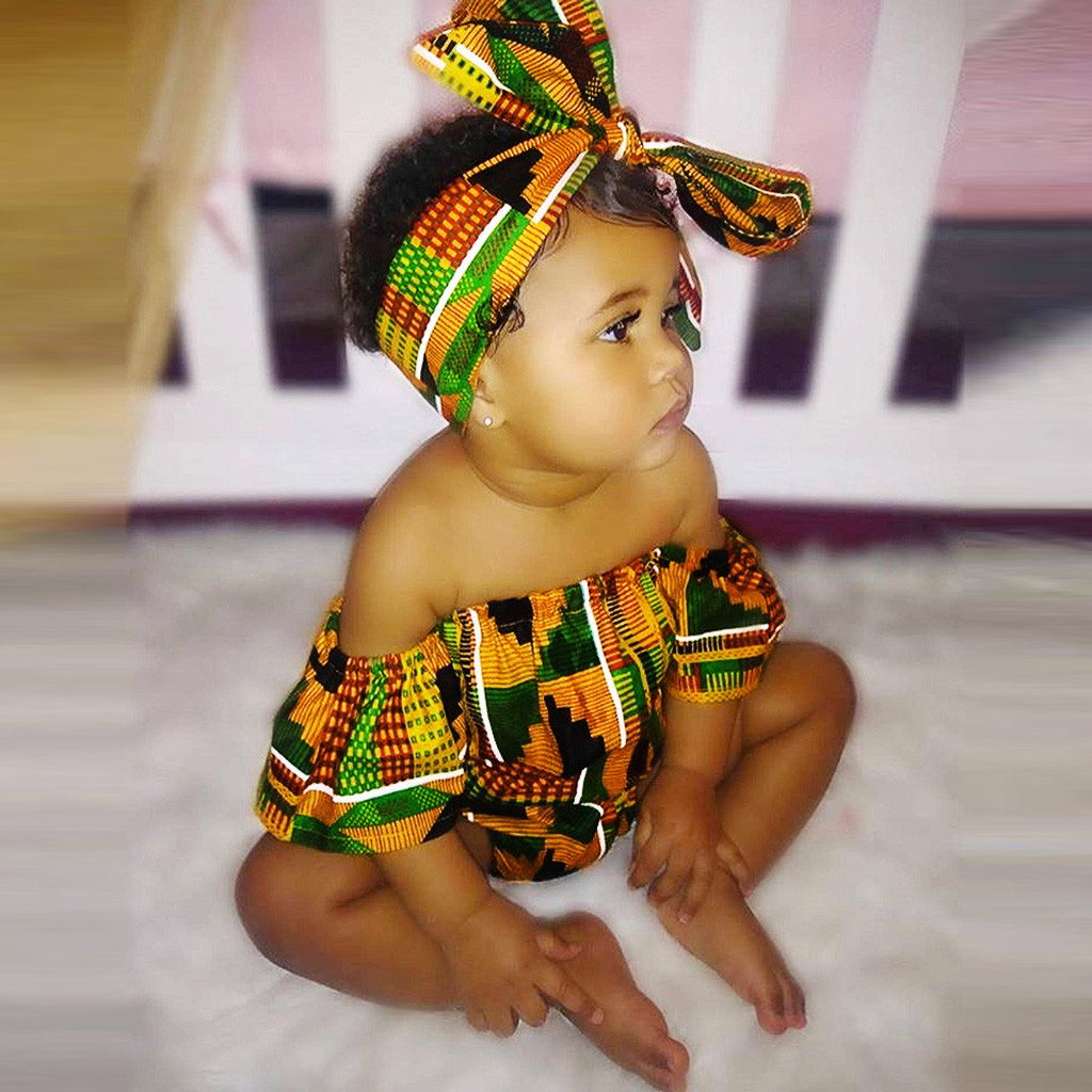 Toddler Newborn Baby Girls   Romper   African Print Off Shoulder   Romper  +Headband Set 2pcs Infant Outfits Jumpsuit Clothes