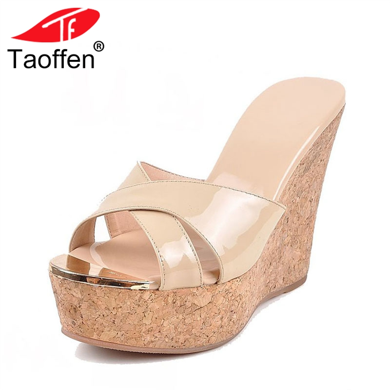 TAOFFEN Women High Heels Sandals Real Leather Platform Wedges Shoes Women Classics Concise Office Lady Party Footwear Size 34-39 taoffen women high platform shoes patent leather star lady casual fashion wedge footwear heels shoes size 33 48 p16184