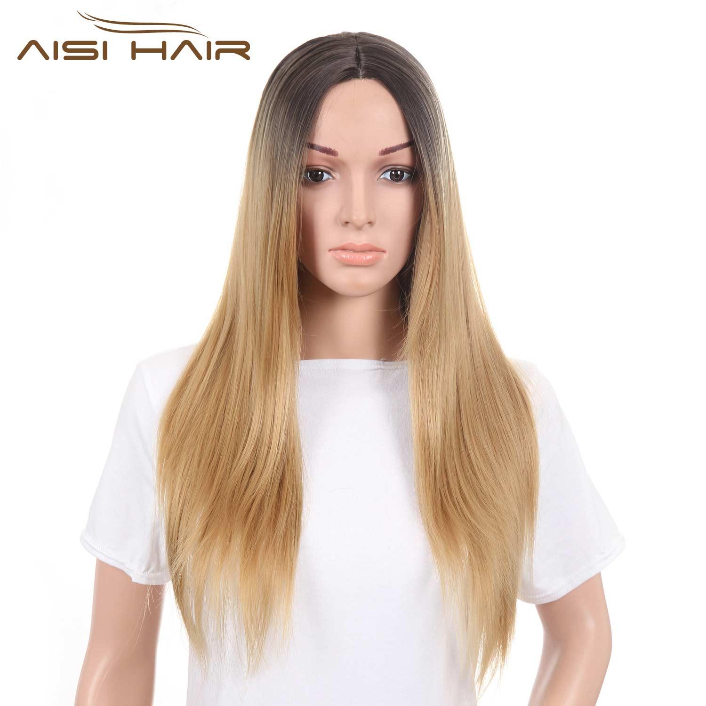 Я \'ы парик Синтетические Парики для Чернокожих Женщин Длинные Прямые Ombre Светлые Волосы