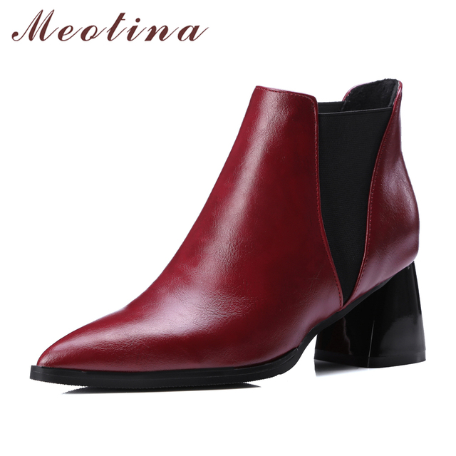 Meotina 靴の女性のアンクルブーツチャンキーハイヒールの女性のブーツポインテッドチェルシーブーツワインレッドブラックビッグサイズ 10 42 43