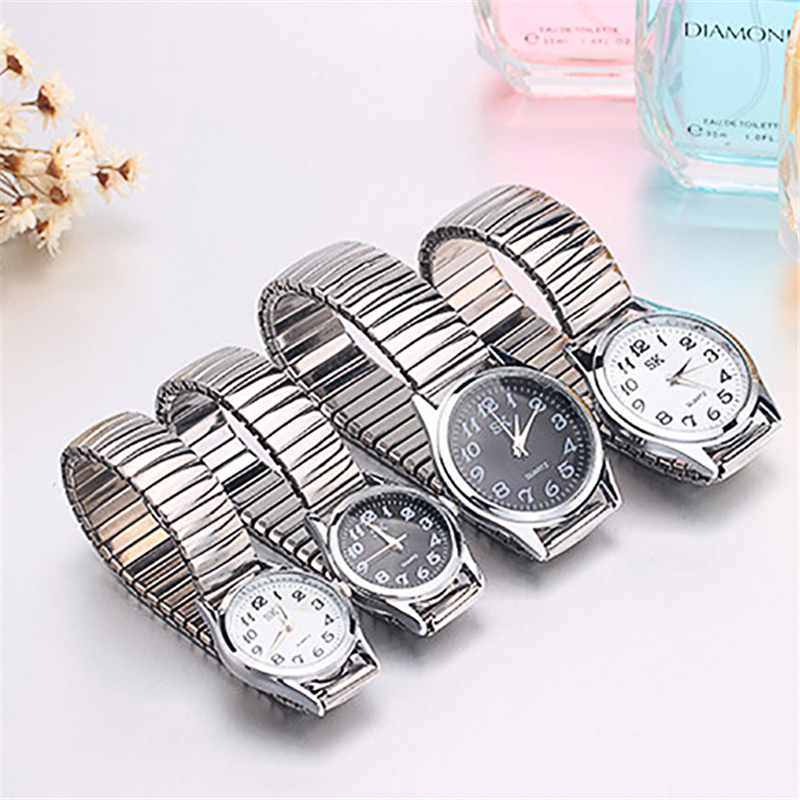 Men Women Business Watches Fashion Alloy Restoring Quartz Perfect Couple Watches Stainless Steel Elastic Strap Band Wrist Watch