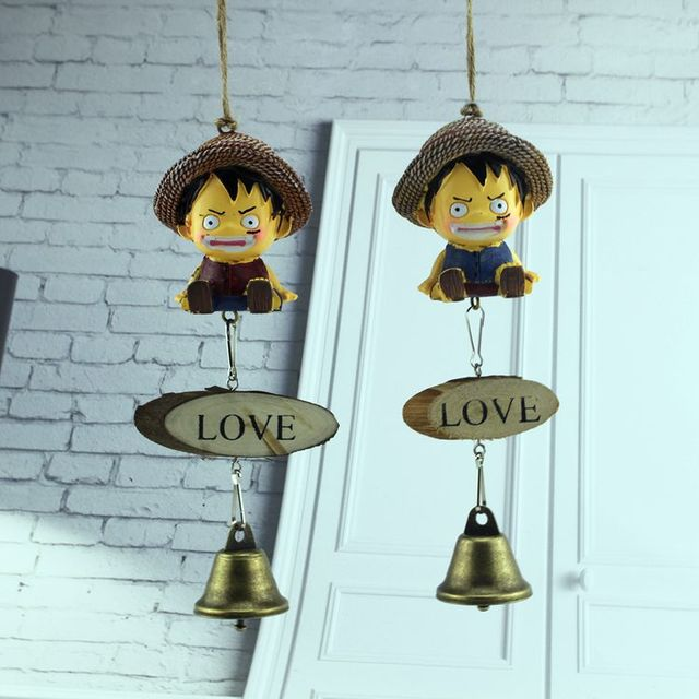 Cartoon Creative Luffy Resin Dolls Hanging Door Bell Pendant Wind Chimes  Accessories Birthday Gift Home Decoration