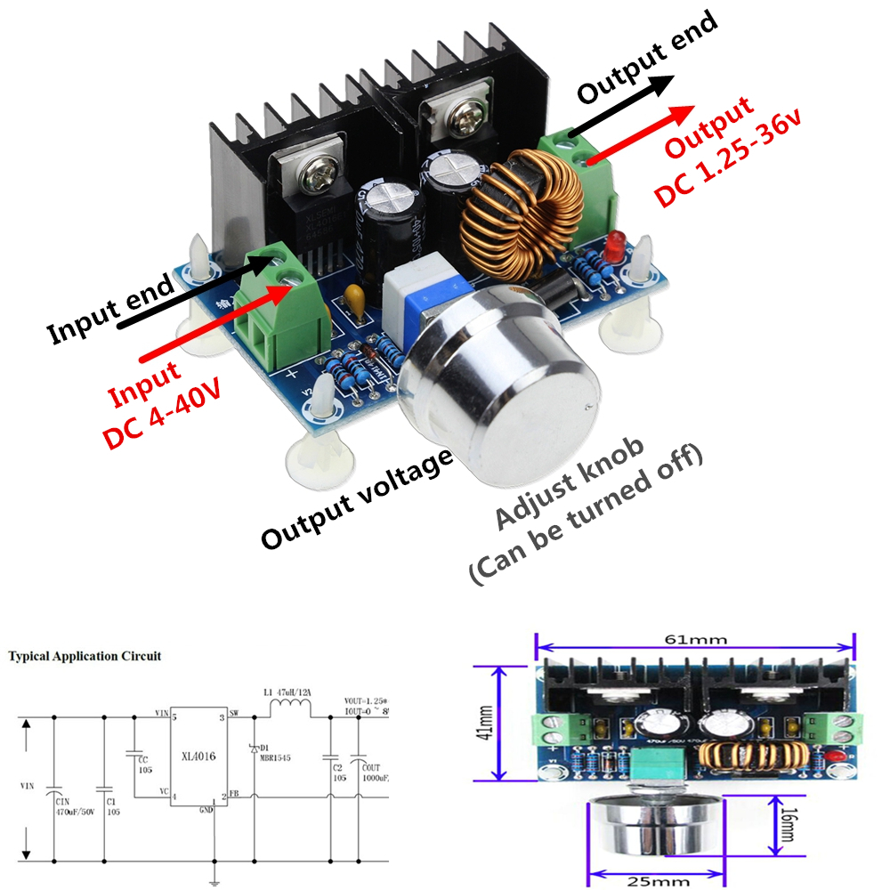 Xh M401 Dc Dc 4 40v To 1 25 36v Step Down Buck Converter