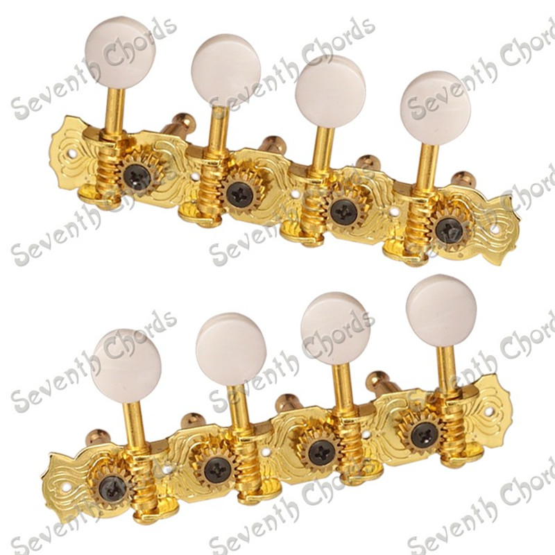 A Set Gold 4R4L String Tuning Pegs Tuners Machine Heads For Mandolin a set chrome sealed gear tuning pegs machine heads tuners for guitar with black big square wood texture buttons
