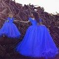 Organza Azul Royal vestido de Baile Vestidos de Casamento 2017 New Menina Cinderela Princesa Noiva Vestidos de Casamento Custom Made Gonw