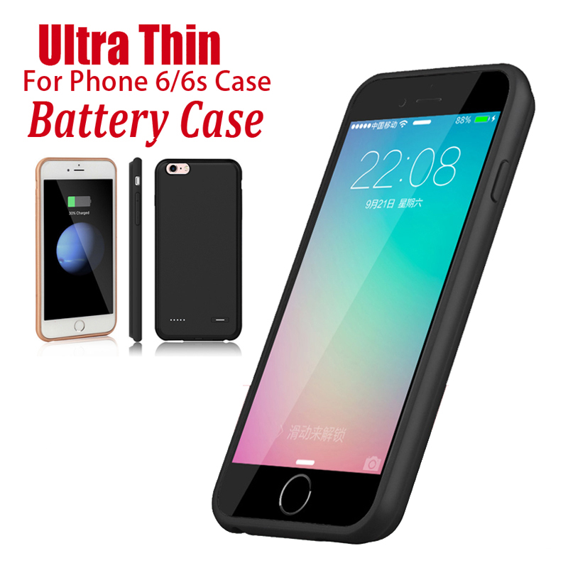 Black Rose Gold Rechargeable Charge Case For iPhone 6 Plus 6S Charger Case Power Extra Battery