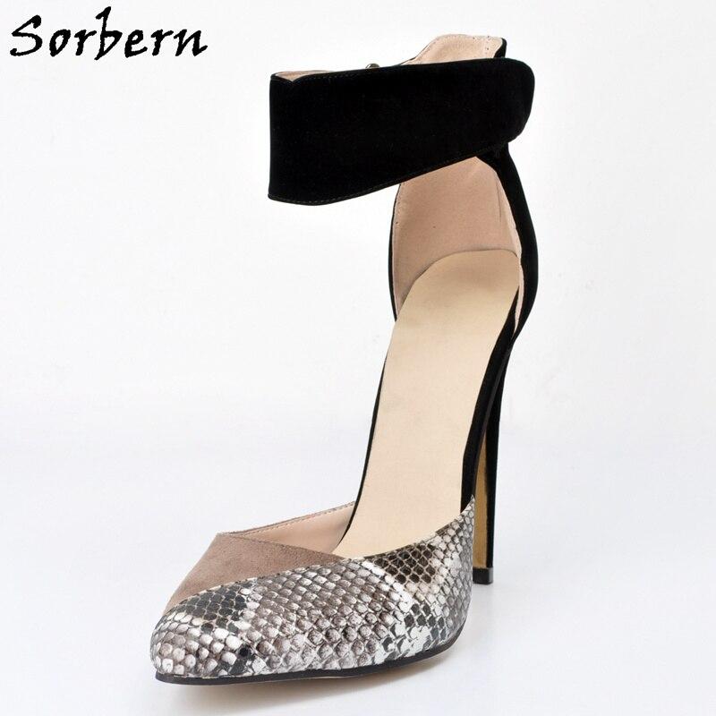 Sorbern Snakeskin Pumps 2018 Ankle Strap Designer Heels Women Luxury Womens Party Shoes Ankle Pumps For Women Plus Size цена