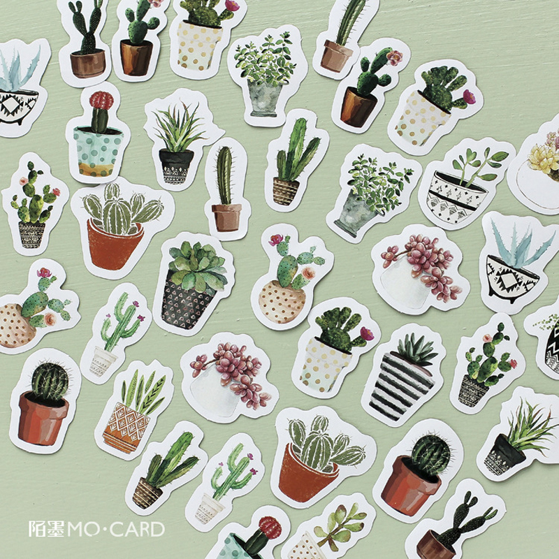 45pcs /Pack Green Plants Cactus Adhesive DIY Sticker Stick Label Notebook Album Diary Decor Student Stationery