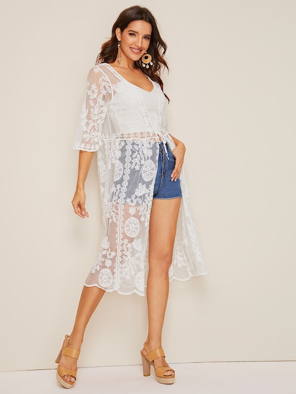 Women Summer Beach Cover Up Floral Print Lace Summer Ladies Loose Shawl New Cardigan Tops Blouse