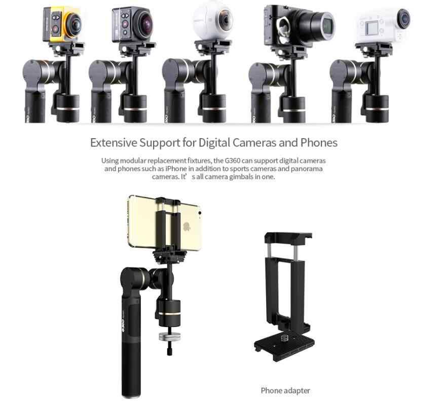 (余分なワンバッテリー)年度feiyutech g360ハンドヘルドパノラマカメラジンバルfeiyu 360無限パン軸のプレスパノラマ
