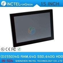 """LED 2 мм панели HDMI 2 * RS232 15 """"Intel Atom D2550 Двухъядерный Все в одном сенсорный экран pc"""