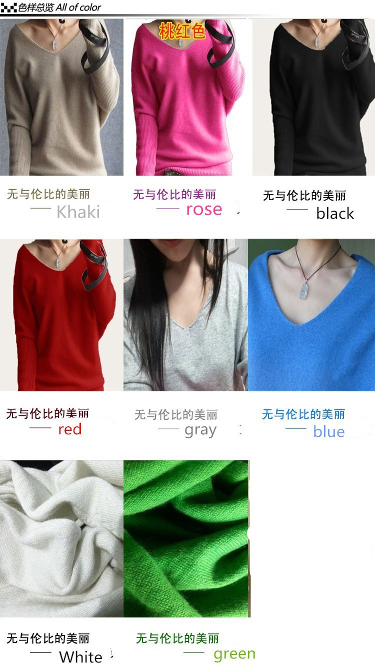 19 Spring autumn cashmere sweaters women fashion sexy v-neck sweater loose 100% wool sweater batwing sleeve plus size pullover 4