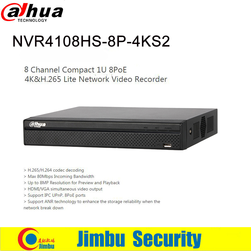 Dahua 4K NVR 8POE NVR recorder NVR4108HS-8P-4KS2 H.265 Up to 8MP Resolution and 1 SATA III Port, Up to 6 TB capacity each HDD