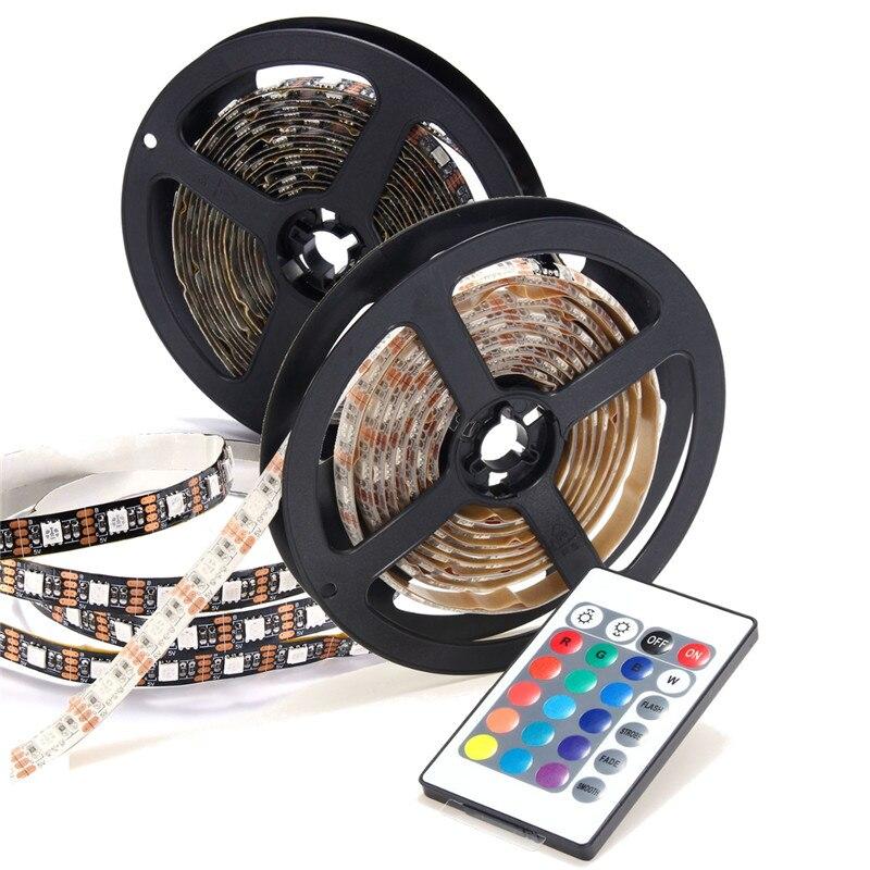 0.5/1/2/3/4/5M 300/240/180/120/60/30 LED RGB LED Strip Light 5050 SMD USB Power TV Back Lighting With 24Key Remote Controller