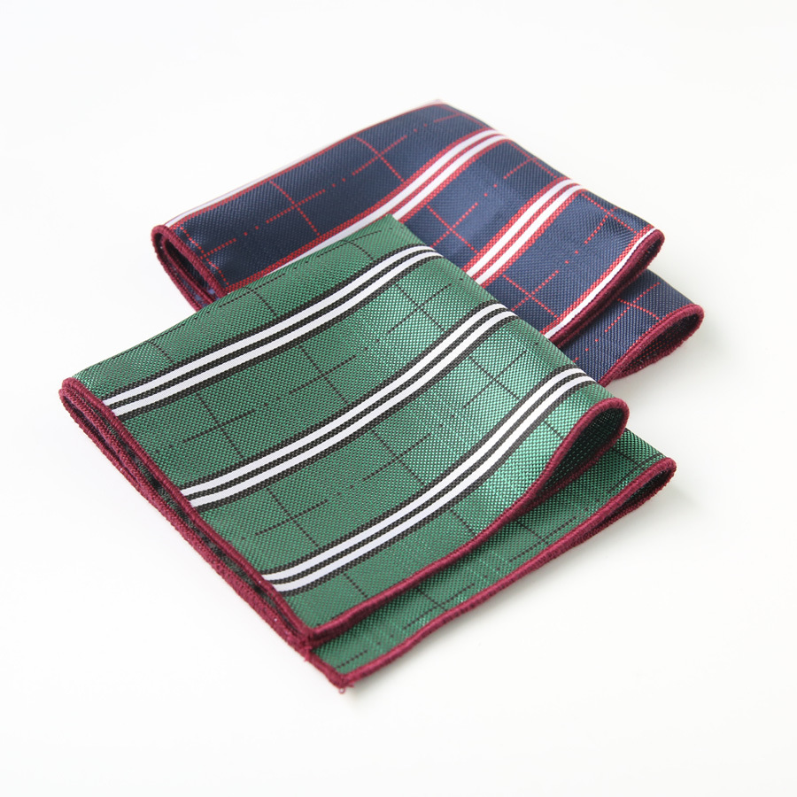 Mantieqingway Mens Handkerchief Pocket Square For Wedding Tuxedo Striped Hankies Polyester Classic Chest Towel