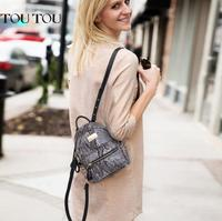 TOUTOU Backpack New High Quality Snake Leather Of Women S Fashion Rivets Women Bag Ladies Backpack
