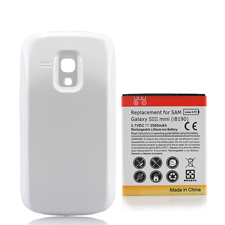 3.7VDC 3500mAh Extended Cell Phone Battery + White Back Cover For Samsung Galaxy S3 Mini i8190 SIII mini bateria High Quality image
