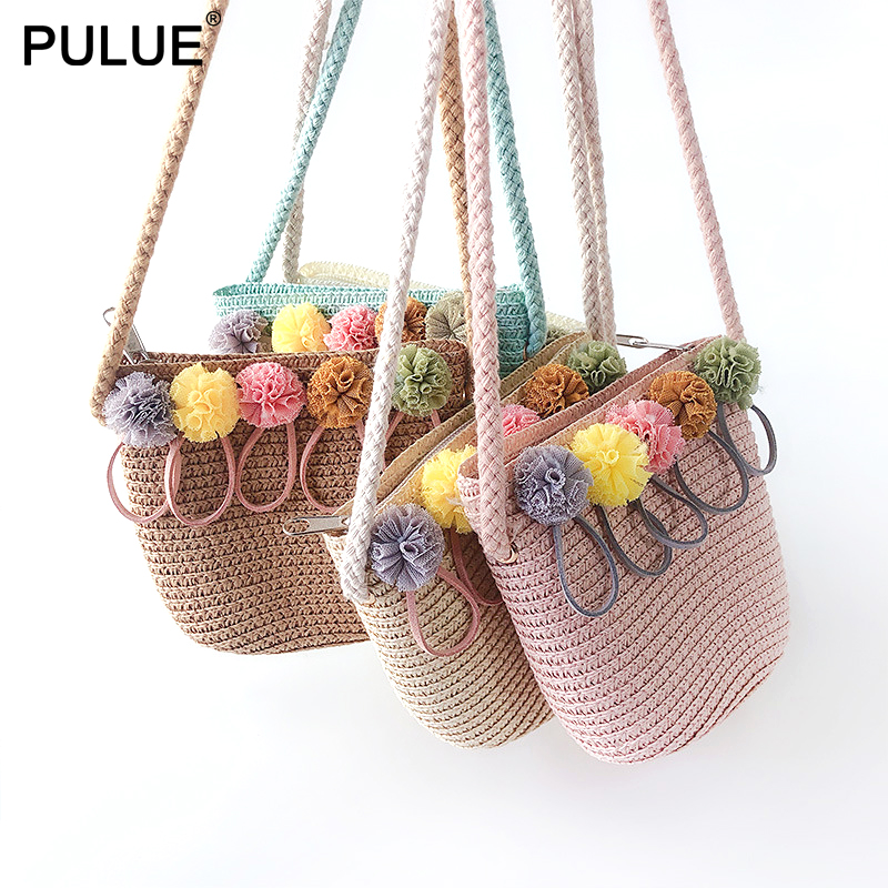 High Quality Handmade Children Shoulder Bag Exquisite Flower Straw Bag Messenger Bag Kids Keys Coin Purse Cute Princess Handbags(China)