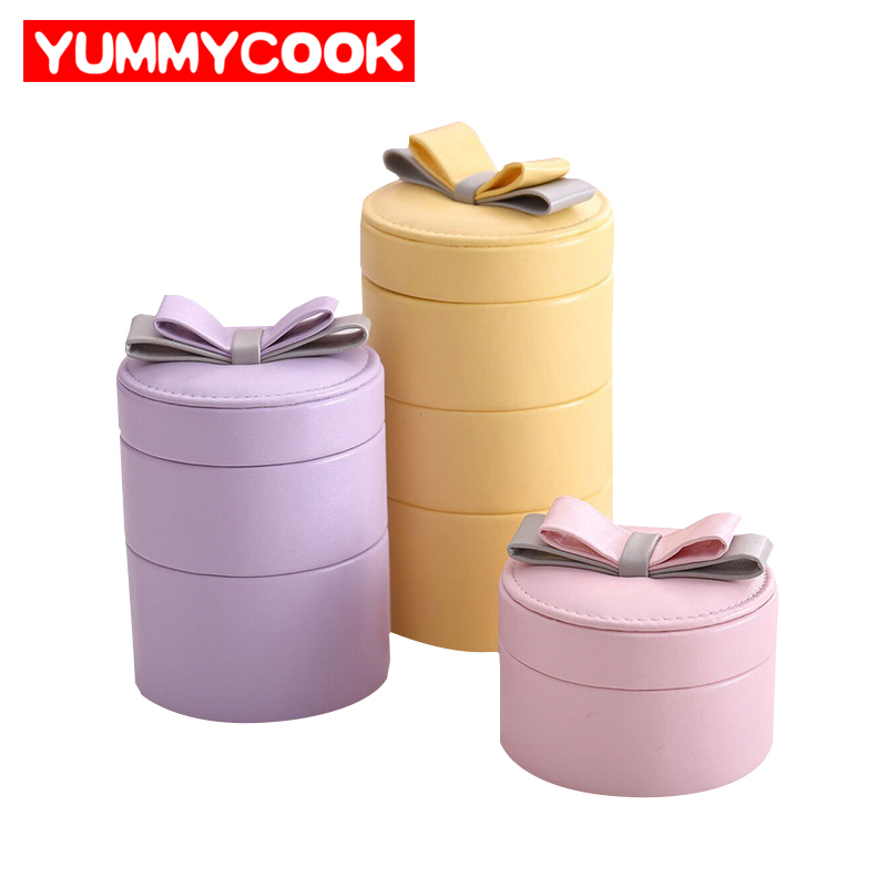 Portable 3 Layers Round Makeup Organizers Womens Cosmetics Jewelry Box Rings Earrings Collection Storage Case Accessories Stuff