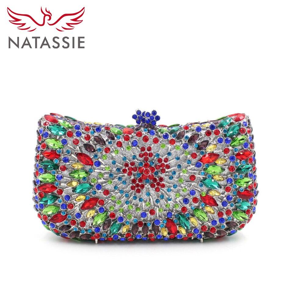 ФОТО NATASSIE  Women Rhinestone Handbag Lady Luxury Crystal Clutch Evening Bag Wedding Purses with Chain L2052