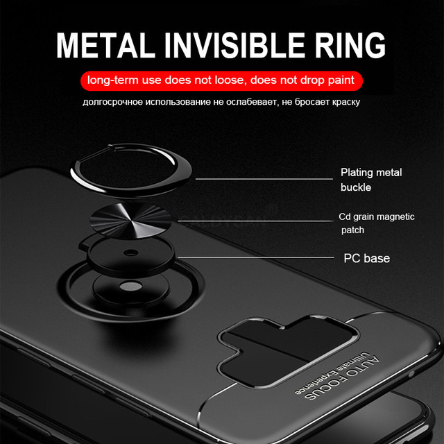 Luxury Bracket Ring Shockproof Case For Samsung Galaxy S8 S9 PLus Full Cover For Samsung Note 8 9 TPU Soft Silicone Holder Cases