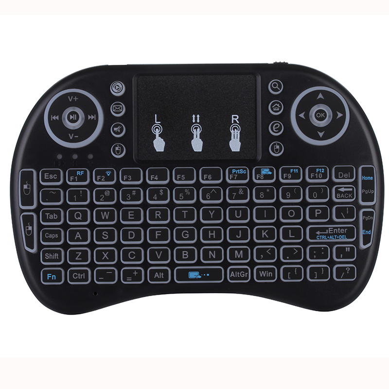 Backlight Mini i8 Keyboard 92 Keypads i8 Keyboard Backlit 2.4GHz Wireless Air Mouse with Touchpad for Android TV Box Windows