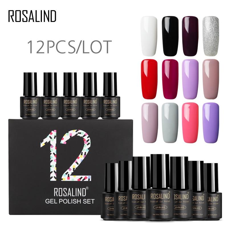 (12 pçs/lote) ROSALIND 7 ml Cores Puras UV Gel Unha Polonês para Unhas Nail Art Semi Permanente Gel Unha Polonês Verniz Manicure conjunto