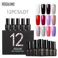 (12PCS/LOT) ROSALIND Gel Nail Polish for Nails 7ml Pure Colors UV Nail Art Semi Permanent Nail Gel Polish Varnish Manicure Set