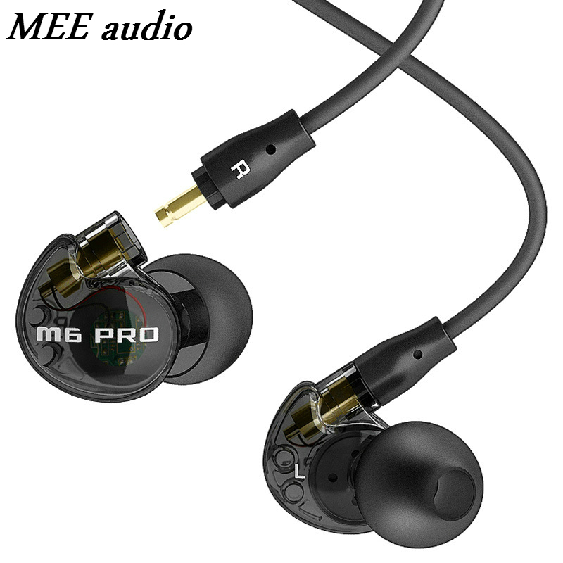 MEE audio M6 PRO Black Color Wired Headphones Profeesional Music Stereo Noise Isolating In-ear Monitors Headset HIFI Earphones in stock 24hrs ship black white wired mee audio m6 pro noise isolating earphones in ear monitors headphones headset with box