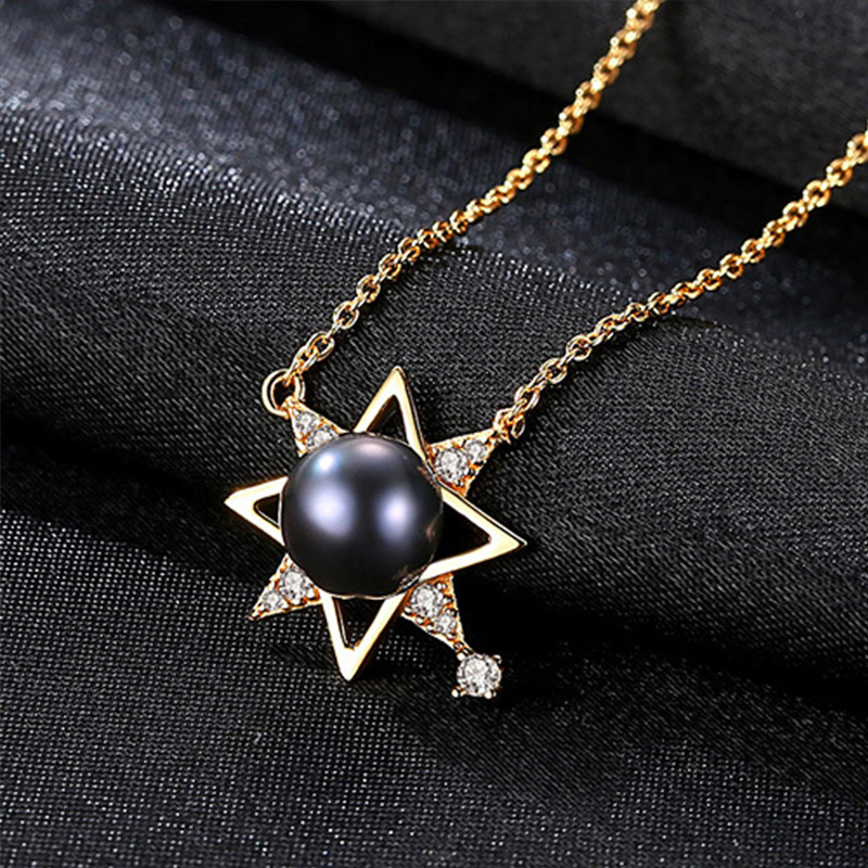 Natural pearl 18K Gold Color Charm Shell Design Pearl S925 Fine Jewelry stars Pendant Necklace for Women Colar Choker