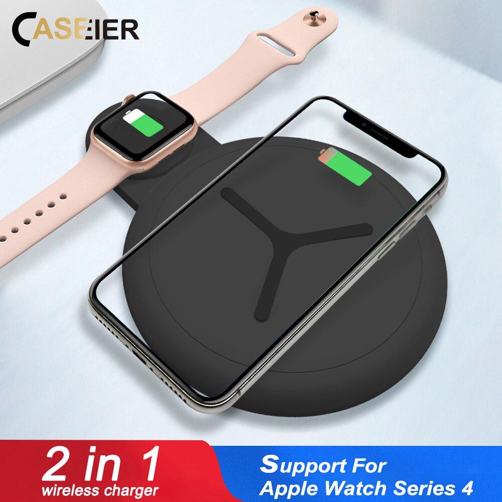 CASEIER 12,5 W 2 in 1 QI Drahtlose Ladegerät Für iPhone X XS Max XR 8 Schnelle Ladegerät Für Apple uhr 4 3 2 Dual Cargador inalambrico