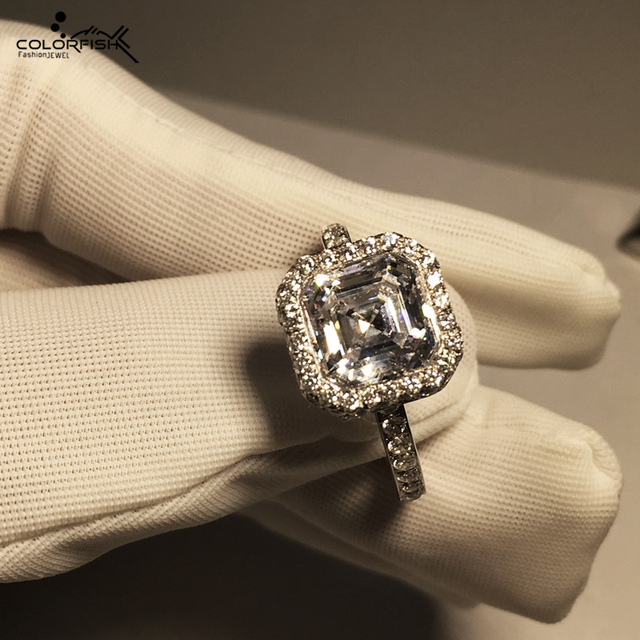 Ladies Ring-Genuine 925 sterling silver Asscher Cut Halo Wedding Engagement Ring hdm7JL9Wxh
