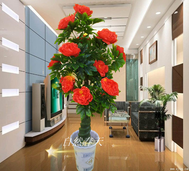 artificial plants for living room formal rooms tree fake rose decoration french bonsai flower