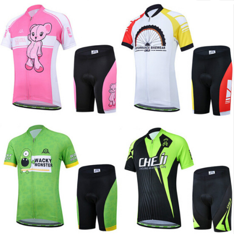 цены Kids Cycling Clothing Short Sleeve Summer Cycling Jersey Set for Boys Girls MTB Bike Bicycle Ropa Children Bike Wear