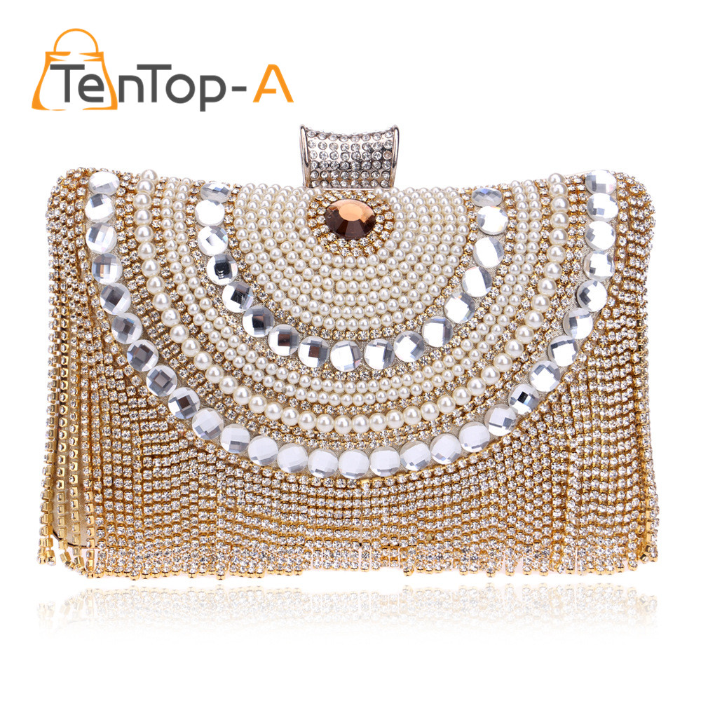 ФОТО TenTop-A Luxury Crystal Rhinestone Evening Holding Bags Pearls Diamond Tassel Clutch Bag Lady Wedding Elegant Bridal Banquet Bag