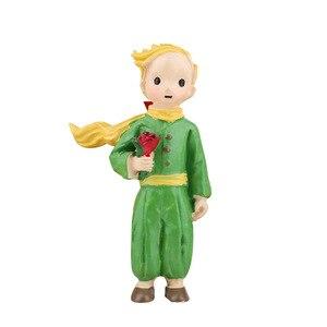 Resina pequeno príncipe modelo de pé rosa artesanato de fadas estatuetas bonito crianças brinquedos boneca casamento decoração para casa desenhos animados figuras