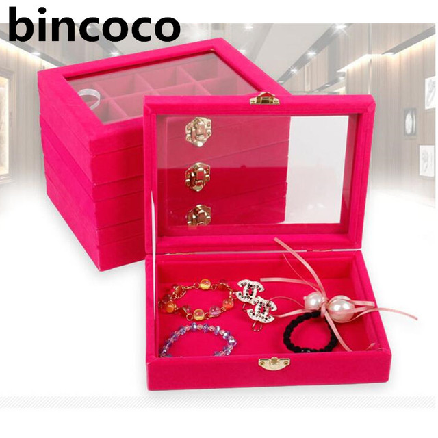 bincoco jewelry box rose red cover case makeup organizer Cube
