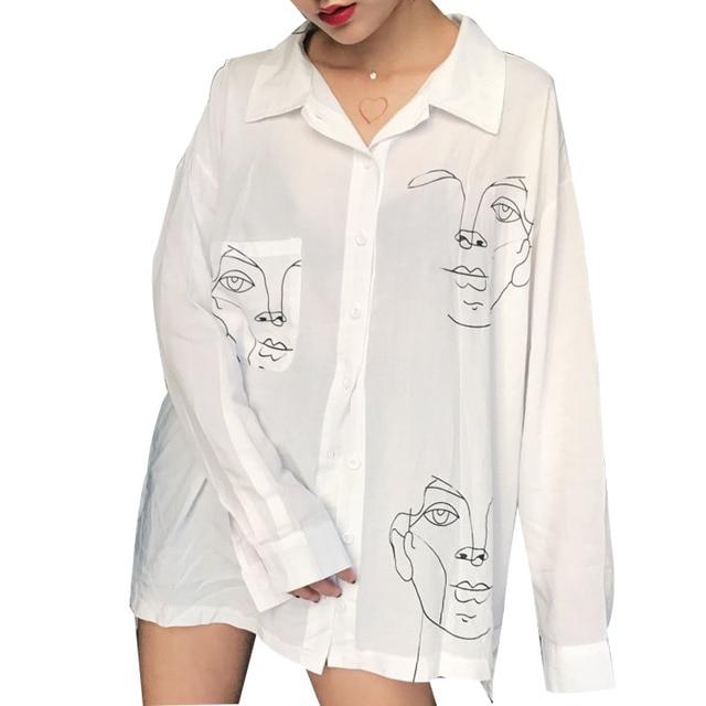 936a40fc7fd7 Summer Shirt Women Harajuku Blouses Line Face Print Retro Long Sleeve  Cotton Tops Blouse Black White
