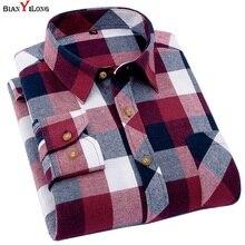 Men's Plaid Flannel Shirt Slim Fit Soft Spring Male Shirt Brand Men's Business Casual Long-sleeved Shirts Plus Size 5XL 6XL