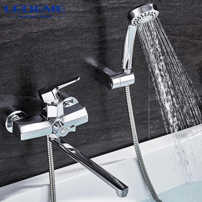 LEDEME 1 Set Bathroom Faucet Cold and Hot Water Mixer Chrome Finished Tap Long Nose Single HandleChrome Plated Faucet L2259 диски helo he844 chrome plated r20
