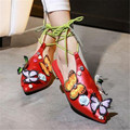 Embroidered Butterflies Woman Flats Cross-tied Casual Shoes For Ladies Spring Pointed Toe Leisure Shoes Woman Leather Loafers 39