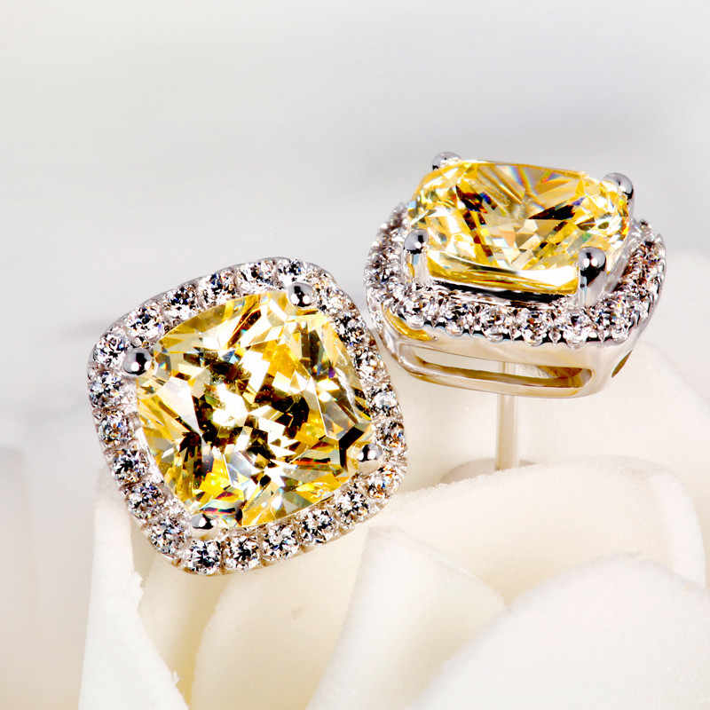 Роскошные женские серьги с кристаллами и цирконием, модные 925 пробы, серебряные, желтые серьги, винтажные Двойные серьги-гвоздики для женщин