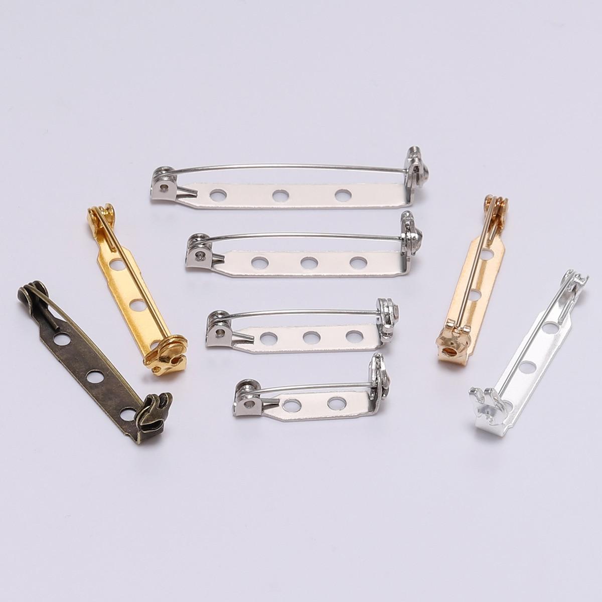 20pcs//set Plated Iron Brooch Base Back Bar Badge Holder Brooch Pins DIY Jewelry