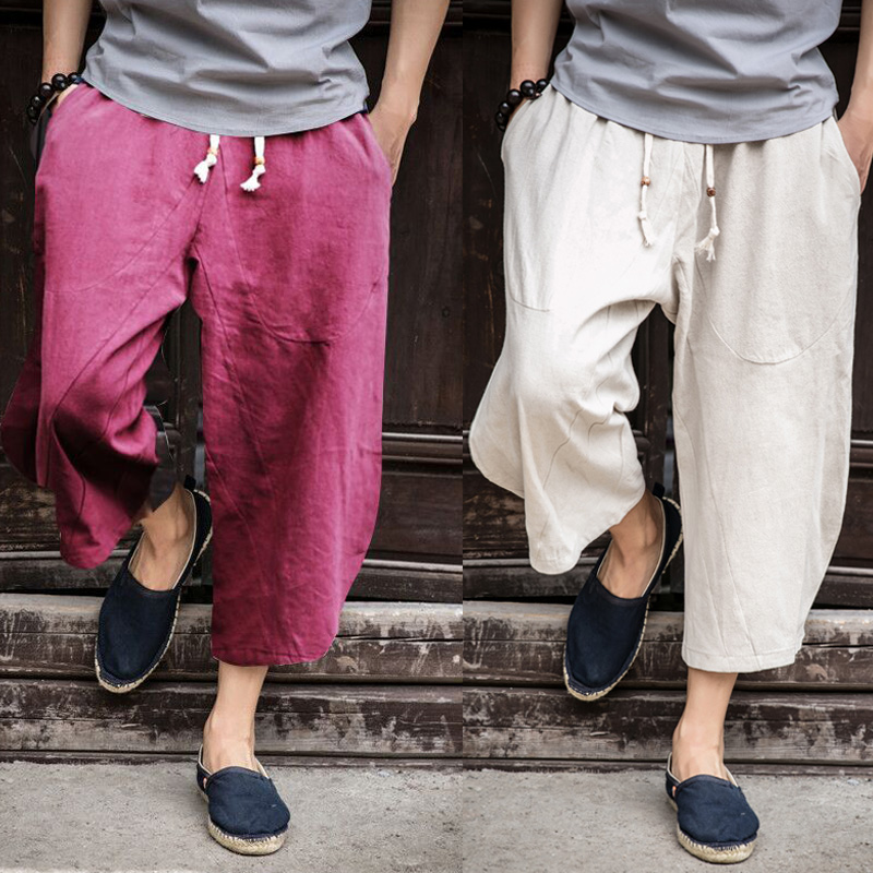 Sinicism Store Man Linen Cropped Cross Pant Trouser Men Casual Wide-Legged Bloomers Summer 2019 Male Traditional Nepal Trousers