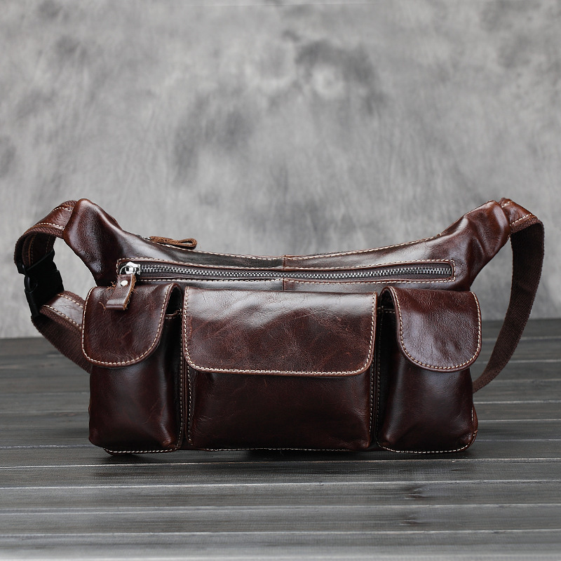 Brand New Vintage Oil Wax Genuine Leather Men's Sport Travel Waist Fanny Pack Hiking Chest Shoulder Sling Bag Zipper Phone Bags - Shenzhen Silverdream co.,Limited store