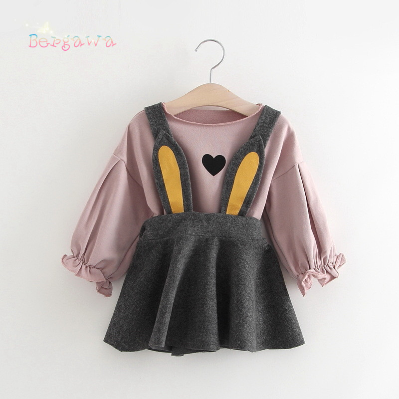 2018 Spring Baby Girls Kids Infants Loose Long Sleeve T-shirt+Rabbit Ear Overalls Pleated Dress 2pcs Princess Clothes Set S6308 baby girls short sleeve dress girls kids polka dot dress clothes overalls dress
