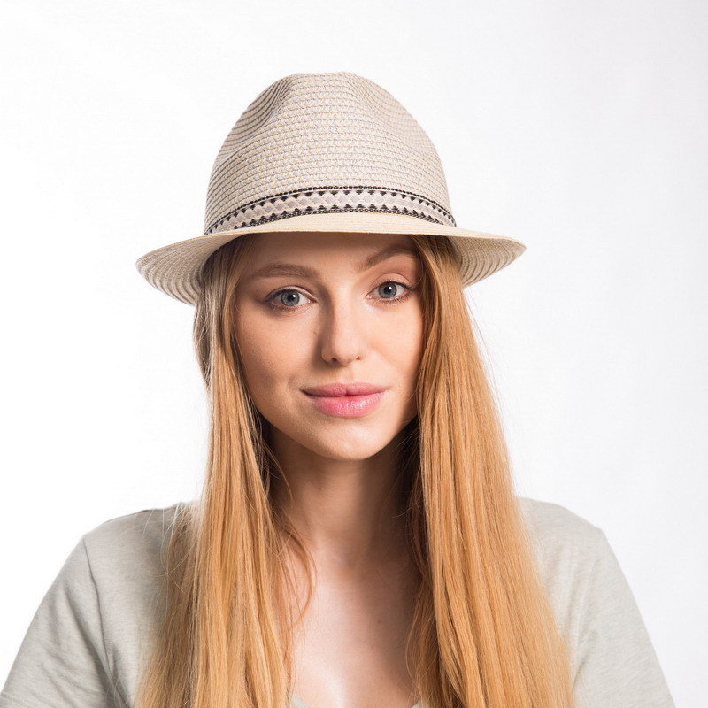 Muchique Fashion Summer Hats for Women New Paper Straw Fedora Vintage Trilby  Blue Crown Beige Brim e745ce7cc7f2