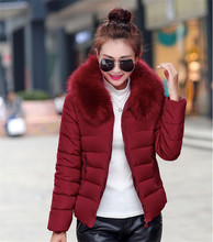 2016 Autumn and WinterJacket Women Coat Parka Fur Collar Large Size Women Cotton-padded Jacket Coat Candy Colors Outwear Female
