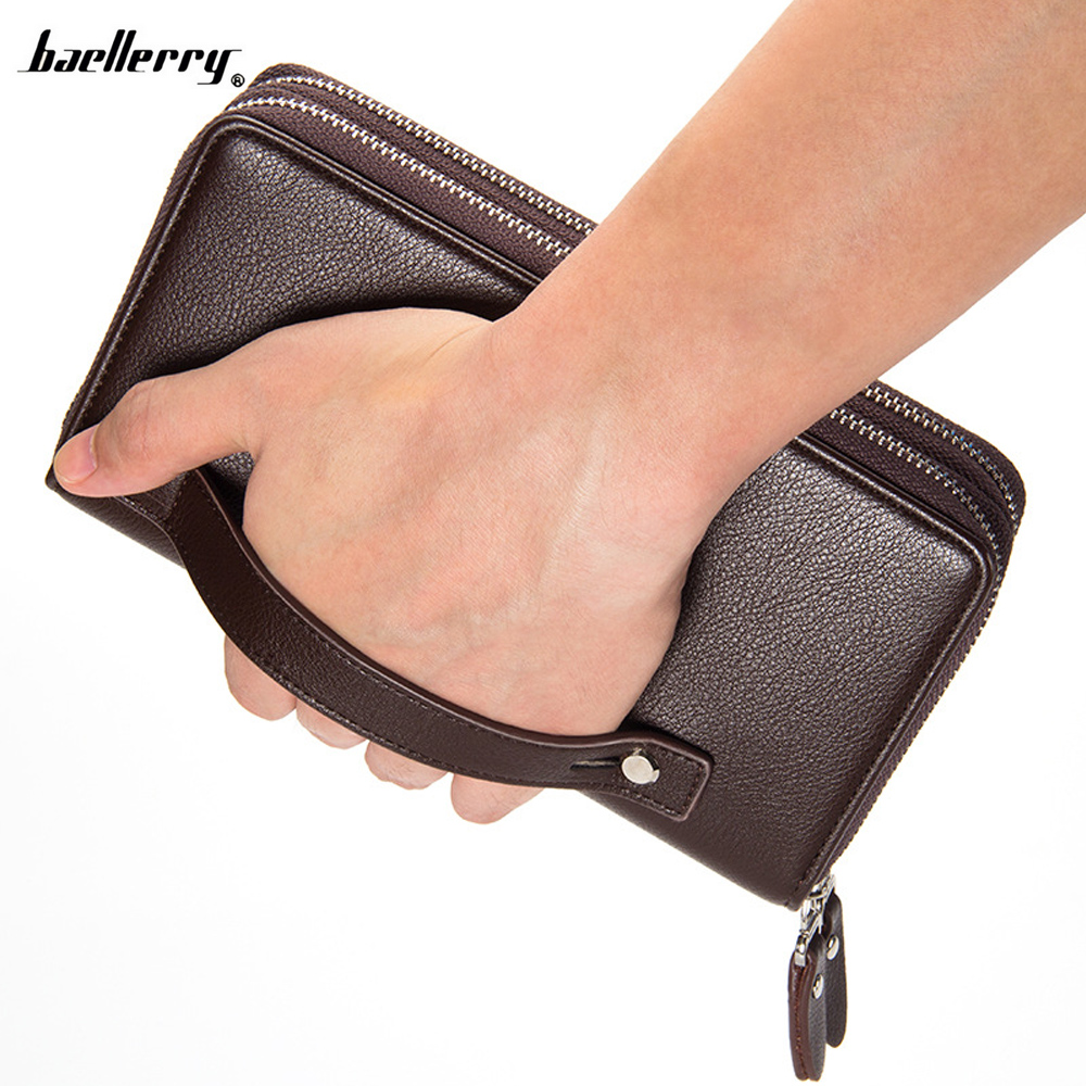 Mens Wallet Baellerry Business Men Handbag Long Large Capacity Money Cellphone Bag Zipper Credit Card Holder Purse Wallets 034